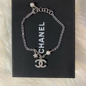 Chanel pearl and silver bracelet